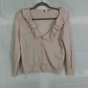 J.Crew pale pink ruffled neck crop merino wool top